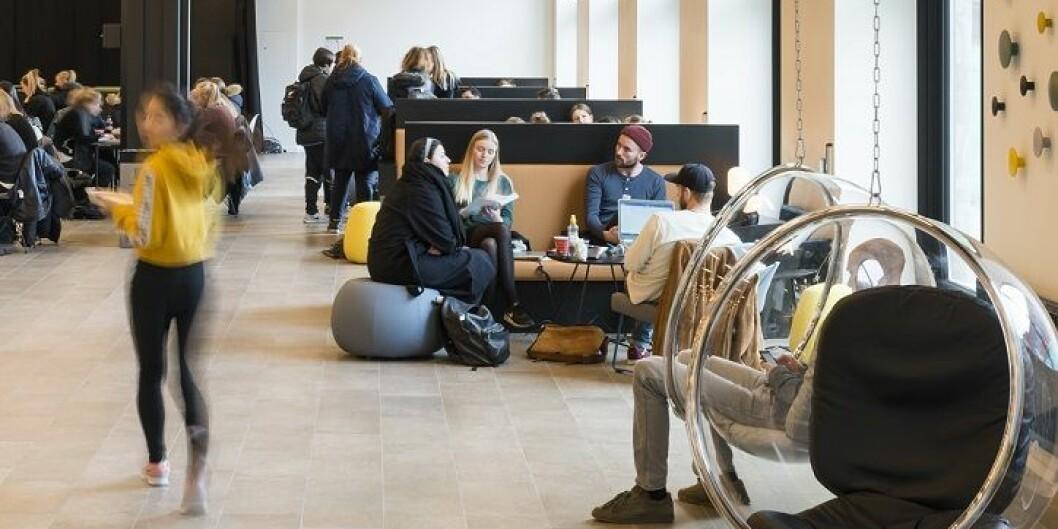Hallen i Studenthuset på OsloMets campus i Pilestredet er i flittig bruk til studier og gruppearbeid. Det var her fellesadministrasjonen ville ha sitt julebord. Foto: Thomas Gundersen, Zinc