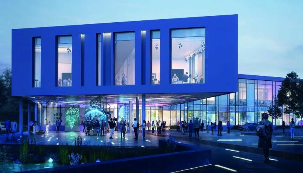 Slik skal det nye mediehuset ved Høgskulen i Volda bli, ifølge konseptet fra PEAB/K Nordang. Foto: Statsbygg/K. Nordang AS/PEAB og Link arkitektur