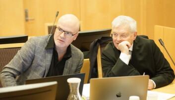 Nils Rune Langeland og advokat Kjell M. Brygfjeld under rettssaken i desember 2018. Foto: Ketil Blom Haugstulen