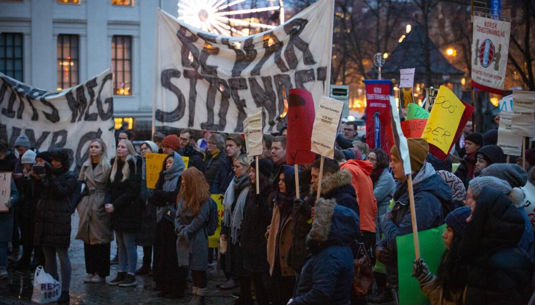 Studentdemonstrasjonen Bevar stipendet, som foregikk 29. november i fjor, bør evalueres, mener studentleder Daniel Hansen Masvik. Foto: Runhild Heggem