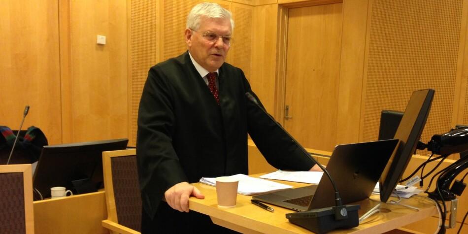Nils Rune Langelands advokat, Kjell M. Brygfjeld, holdt sluttprosedyre i Oslo tingrett fredag. Foto: Nils Martin Silvola