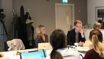 Prorektor Morten Irgens stol på styremøtet på OsloMet var tom etter at ansettelsessaken var ferdig drøftet i dag. Foto: Tove Lie