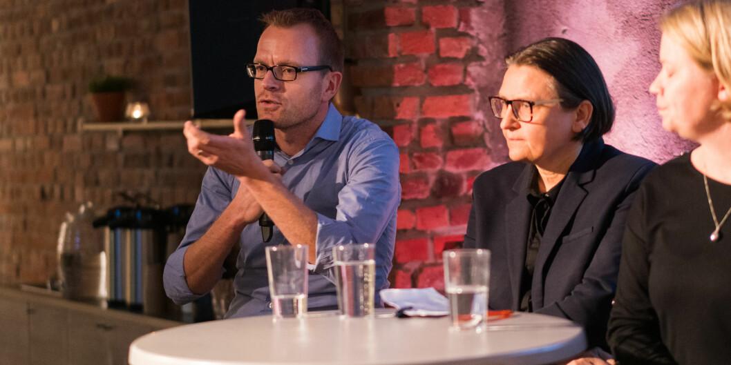 Debatt om seksuell trakassering. F.v. Fredrik Bondestam, Ragnhild Hennum og Rønnaug Retterås. Foto: Ketil Blom Haugstulen