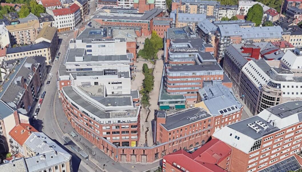 OsloMets campus Oslo ligger på og i nærheten av gamle Frydenlund bryggeri med adresse Pilestredet. Foto: Skjermdump Google Maps 3D