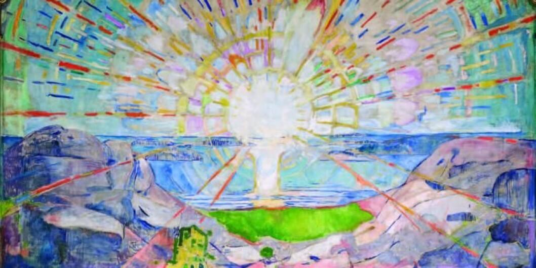 Solen av Munch pryder universitetets aula i Oslo og symboliserer blant annet «opplysning». Foto: UiO/Svein Andresen/Sidsel de Jong