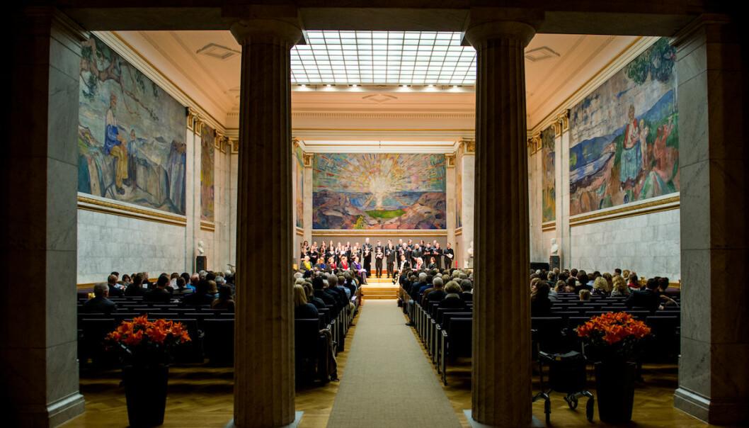 Kreering av doktorer i universitetets aula i Oslo desember 2018. Foto: Morten Kanne-Hansen/UiO