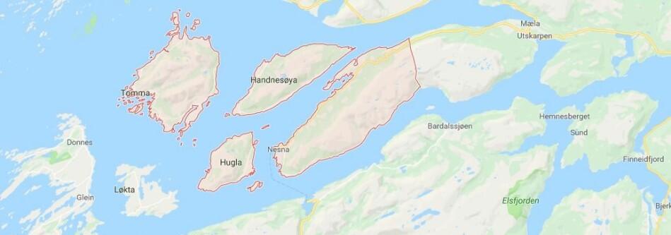 Nesna kommune. Skjermdump fra Google maps.