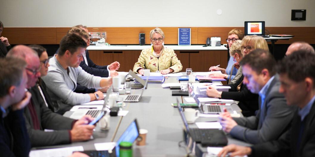 Nord-styret ved oppstart av ordinært møte på Værnes fredag 11. januar, ledet av styreleder Vigdis Mo Skarstein. Foto: Ketil Blom Haugstulen