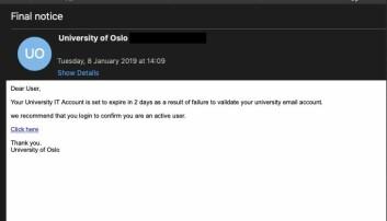 Slik så en e-post som gikk ut til noen tusen e-post-kontoer ved UiO i begynnelsen av januar ut. Skjermbilde: UiO-CERT