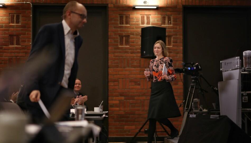Høstet applaus: Statsråd Iselin Nybø fikk god applaus fra ledere i kunnskapssektoren etter sitt åpningsinnlegg på kontaktkonferansen tirsdag. Foto: Siri Øverland Eriksen