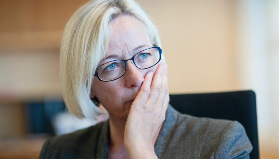 Marit Arnstad (Senterpartiet) er bekymret for konsekvensene av strukturreformen, særlig grad eksemplifisert med situasjonen ved Nord universitet. Foto: Ketil Blom Haugstulen
