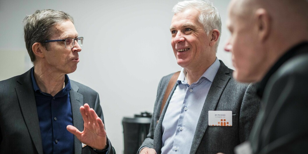 Jørn Mortensen (i midten) stiller til gjenvalg som rektor ved Kunsthøgskolen i Oslo. Her er han på Kunnskapsdepartementets kontaktkonferanse 15. januar. Foto: Siri Øverland Eriksen