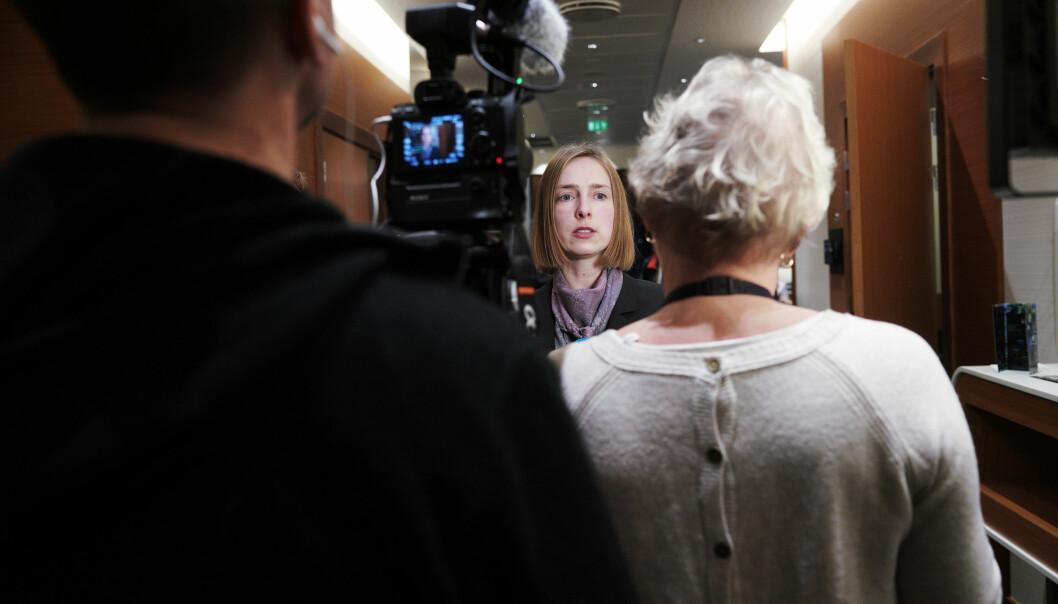Iselin Nybø møtte styret ved Nord universitet i etterkant av deres styremøte på Værnes 11. januar 2019. under stort presseoppbud. I dag besøker hun ansatte, studenter og næringsliv i Bodø- Foto: Ketil Blom Haugstulen