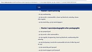 Slik så informasjonen på hjemmesiden ut før Khrono tok opp denne saken med ledelsen ved det aktuelle fakultetet på UiS.