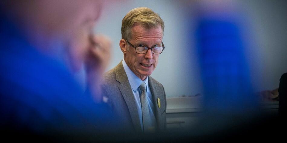 Rektor Curt Rice ved OsloMet skal ha en viserektor i sin ledergruppe heller enn en prorektor for forskning, og har fått søknader fra 14 personer, der ingen av de åpne søkerne er interne. Foto: Siri Øverland Eriksen