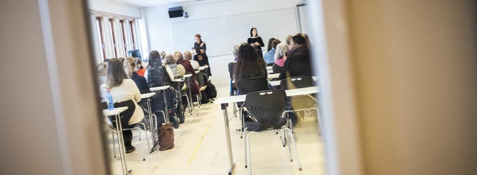 Institutt for sosialt arbeid var samlet til møte om etterspillet etter Eikrem-saken. Saken ved NTNU har så langt avstedkommet to interne faktaundersøkelser. Foto: Torkjell Trædal