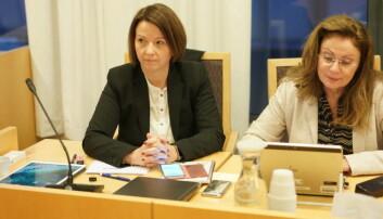 Regjeringsadvokat Hilde Lund og spesialrådgiver i Kunnskapsdepartementet, Bente Mørck Krogdahl, under rettssaken mot Langeland i desember 2018. Foto: Ketil Blom Haugstule