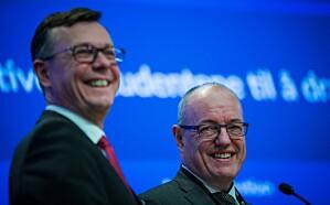 To menn som gjør det godt: UiB-rektor Dag Rune Olsen og NTNU-rektor Gunnar Bovim har mottatt over 600 millioner kroner fra EU fra 2015 til så langt i 2019. Foto: Siri Øverland Eriksen