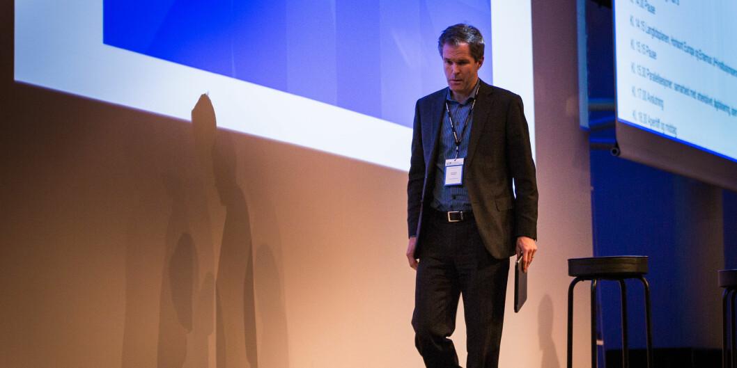 Direktør John-Arne Røttingen i Forskningsrådet, som er ansvarlig for implementeringen av Plan S, har mistet en støttespiller i det svenske jubileumsfondet. Bildet er tatt på UHR-konferanse tidligere i år. Foto: Siri Øverland Eriksen
