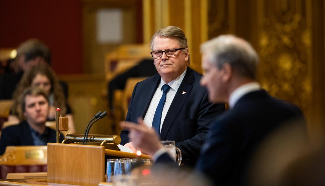 Hans Fredrik Grøvan (KrF) legger ikke skjul på at KrF har jobbet bevisst de siste årene for å styrke de kristne private høgskolene. Foto: Stortinget