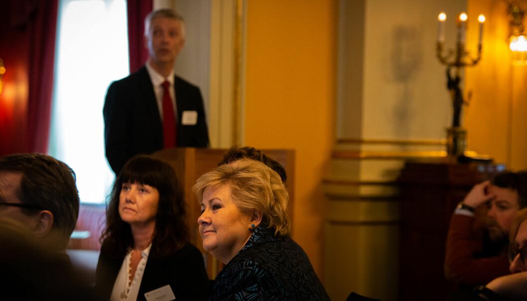 Statsminister Erna Solberg ba om innspill til den kommende stortingsmeldingen om samarbeid med arbeidslivet fra næringslivstopper og rektorer. Foto: Runhild Heggem