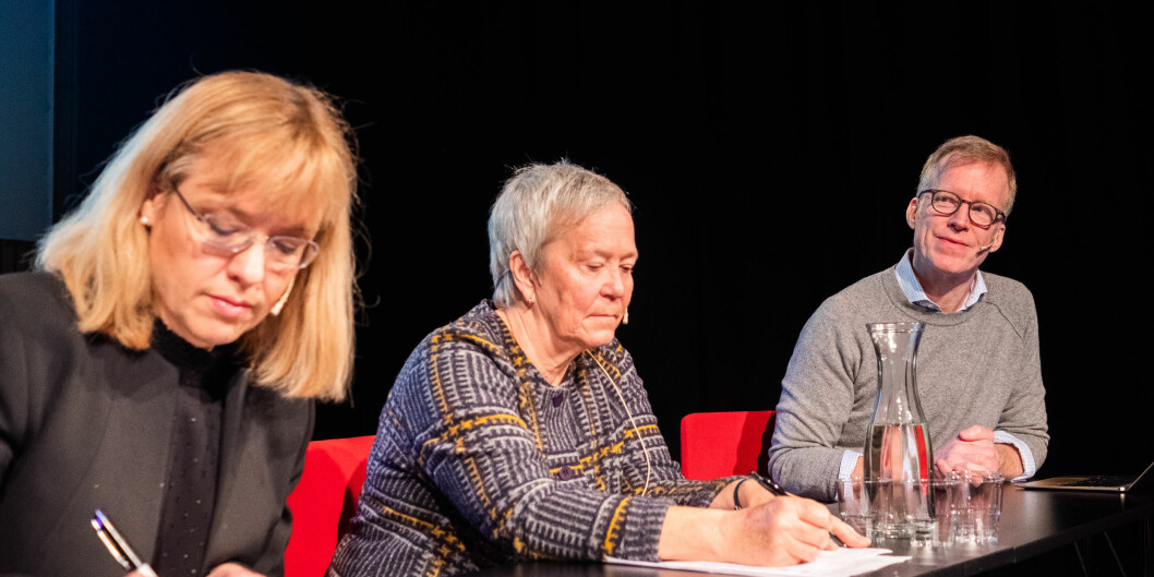 Åse Wetås, Kathrine Skretting, Curt Rice i språkdebatt i Hamar i februar 2019. Foto: Torkjell Trædal