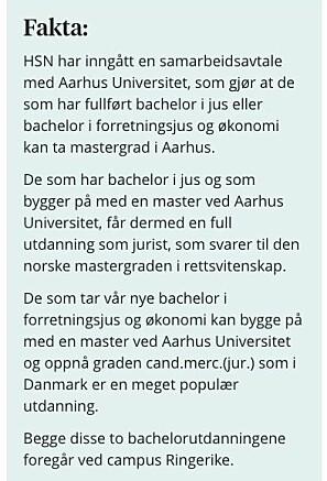 Eksempel på informasjon på usn.no som studentene har oppfattet dithen at de er garantert plass i Danmark.