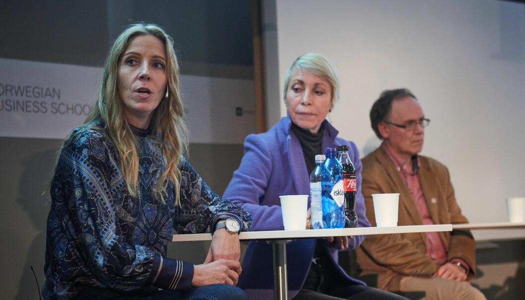 Nina Jensen (til venstre) har alt gått i samarbeid med direktør for Sissel Rogne og Havforskningsinstituttet. - Vi kjenner ikkje innhaldet i den avtalen, sa marin dekan Jarl Giske. Foto: Tor Farstad
