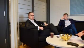 UiO-rektor Svein Stølen og Kjetil Lund (Ap), byråd for næring og eierskap i Oslo kommune. Foto: Øystein Fimland