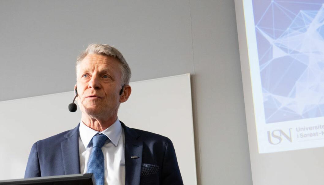 Prorektor Kristian Bogen åpnet prosjektsamlingen i Vestfold for Horisont 2020-prosjektet USN-leder. Foto: Jan-Henrik Kulberg / USN