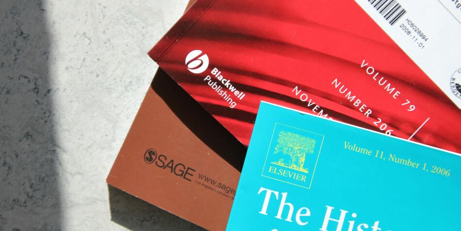 Vitenskaplige tidsskrifter under forlaget Elsevier. Foto: Dag Hellesund