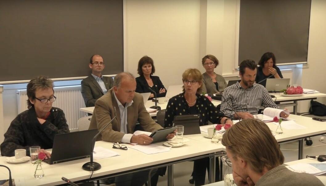Styremøte ved Høgskulen i Volda, der tre av fire eksterne medlemmer er nye fra 1. august. Skjermdump fra Youtube