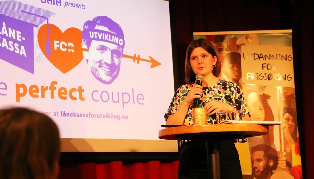 Nestleder i SAIH, Sunniva Folgen Høiskar, uner lanseringen av rapporten «An Excluding Consensus». Foto: SAIH