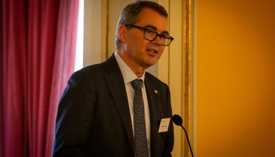Svein Richard Brandtzæg fortsetter som NTNU-styreleder med uforminsket styrke, forsikrer han. Her fra toppmøte med statsministeren om samarbeid mellom akademia og næringslivet i februar. Foto: Runhild Heggem