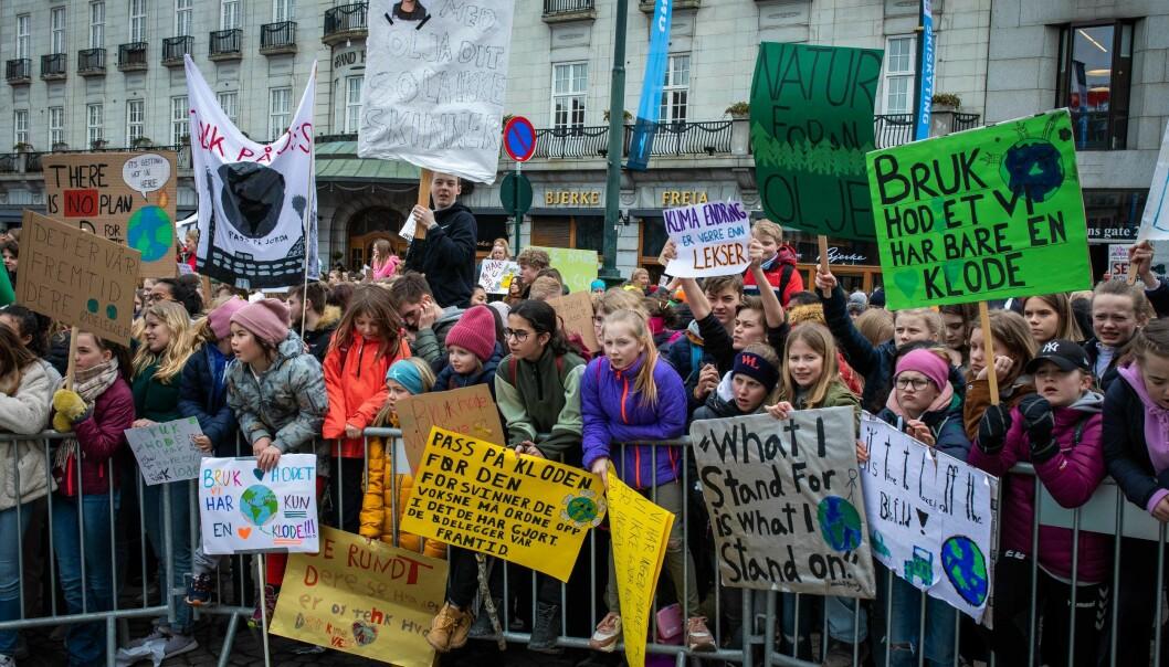 Skolestreik for klima foran Stortinget, 22. mars 2019. Foto: Siri Øverland Eriksen