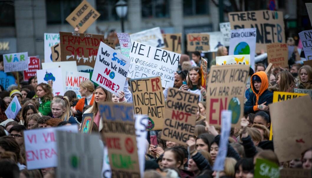 Skolestreik for klima foran Stortinget, 22. mars. Foto: Siri Øverland Eriksen