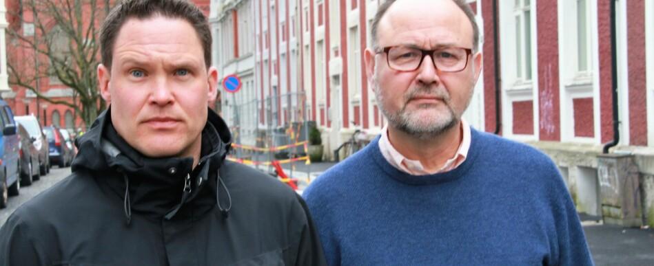 Teemu Sakari Ryymin og Christhard Hoffmann er begge historieprofessoreer ved Universitetet i Bergen. De ragerer på at uttalelser fra UiB-rektor Dag Rune Olsen om å invitere holocaustfornektere til debatt på universitetet. Foto: Jan Willie Olsen