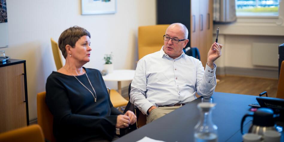 — Vi var ikke fornøyde, sier dekan ved Det humanistiske fakultet på NTNU Anne Kristine Børresen. Her sammen med NTNU-rektor, Gunnar Bovim. Foto: Skjalg Bøhmer Vold