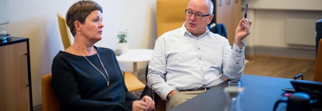 Dekan Anne Kristine Børresen og rektor Gunnar Bovim, NTNU. Foto: Skjalg Bøhmer Vold