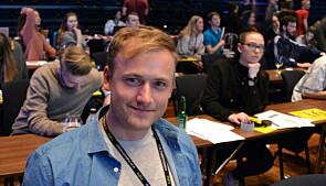 — Vi som studentorganisasjon skal ikke mene noe om utfasingen av oljesektoren, sa Øivind Schothorst på NSOs landsmøte. Foto: Øystein Fimland