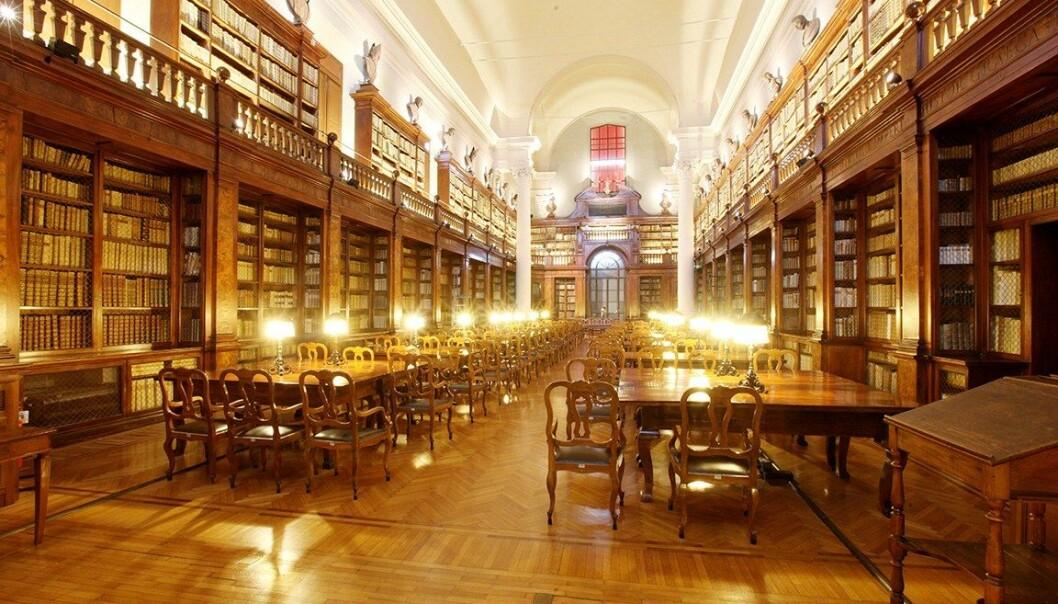 Biblioteket ved Universitetet i Bologna i Italia, Europas eldste universitet.