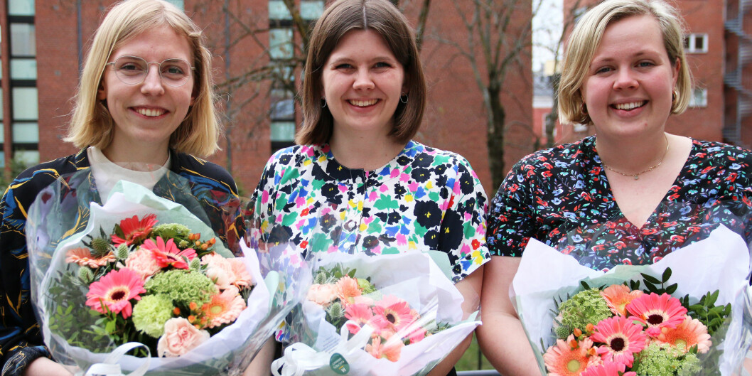 Den nye ledelsen i SAIH: Nestleder Rebekka Ringholm, leder Sunniva Folgen Høiskar og nestleder Marte Mørk. Foto: Sverre Ø. Eikill/SAIH