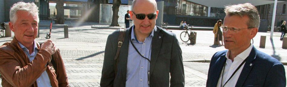 F.v. Pål N. Arnesen, leder for YS Stat, Anders Kvam, leder for Akademikerne Stat og Egil André Aas, leder for LO Stat har brutt forhandlingene med staten i årets lønnsoppgjør.Foto: Vetle Daler/Parat