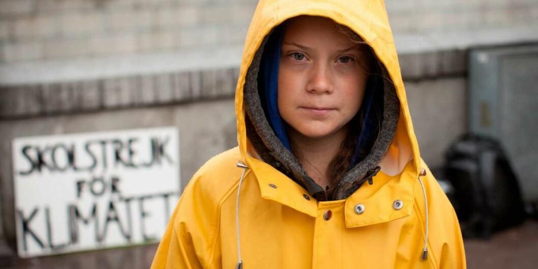 Greta Thunberg er en svensk klimaaktivist og skoleelev som ble kjent i august 2018 da hun satt utenfor Riksdagshuset i Stockholm med plakaten «Skolstrejk för klimatet». Foto: Anders Hallberg