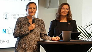 Sintef-direktør Alexandra Bech Gjørv og Norce-direktør Elisabeth M. Støle. Foto: Ole Marius Kvamme, UiB