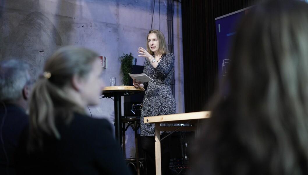 Iselin Nybø på framlegging av årets tilstandsrapport. Foto: Ketil Blom Haugstulen