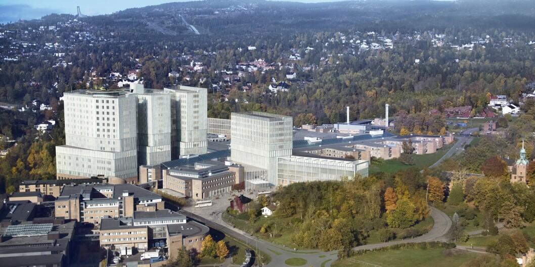 Slik ser skissene til den nye sykehuset på Gaustad ut. De eksisterende bygningene utgjør Rikshospitalet i dag. Foto: Helse Sør-Øst