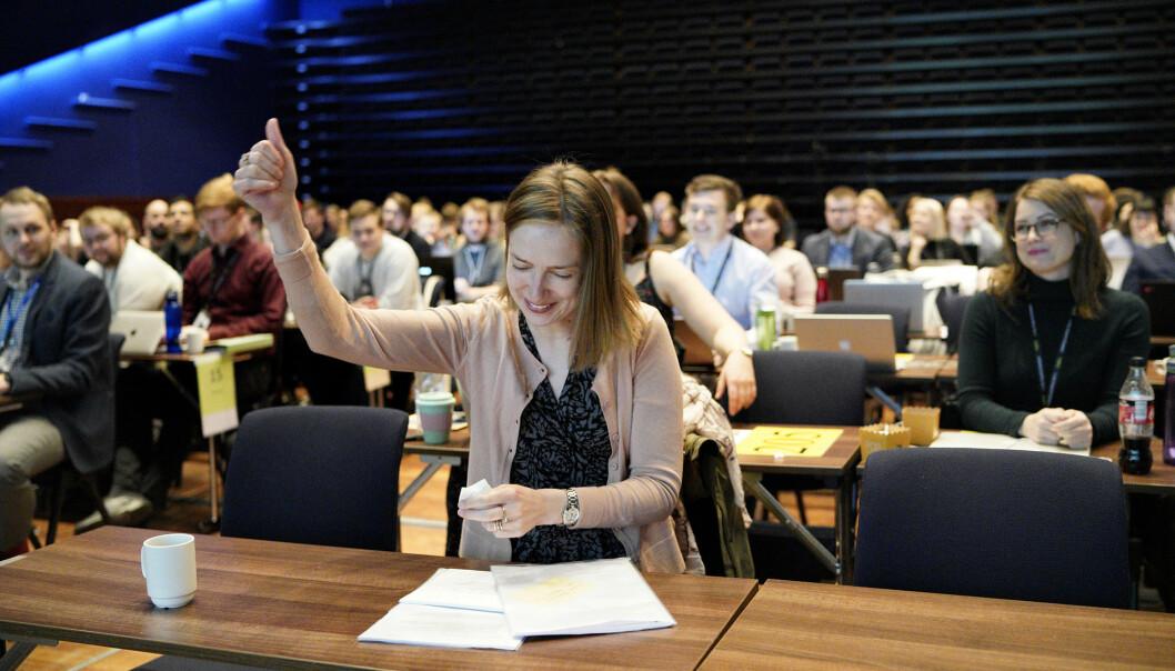 — Vi har spurt rektorene og fått god respons, sier forsknings- og høyere utdanningsminister Iselin Nybø. Nå vil hun ha konkurranse om utslippskutt i sektoren. Foto: Kjetil Blom Haugstulen