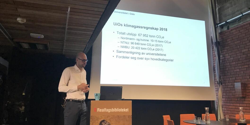 Universitetet i Oslo og Øystein Liverød, miljøsjef i Eiendomsavdelingen, presenterer sitt første klimaregnskap. Foto: Eva Tønnessen