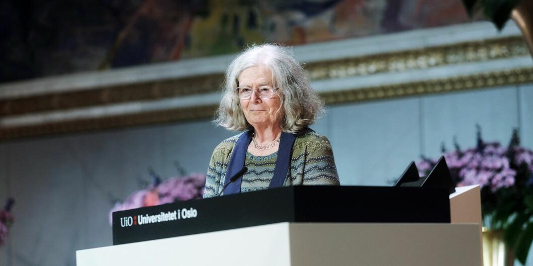 Karen Uhlenbeck mottok Abelprisen på 6 millioner kroner tirsdag. Foto: Ketil Blom Haugstulen